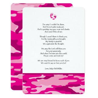 Cartão Obrigado que cor-de-rosa do chá de fraldas de Camo