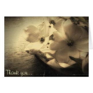 Cartão Obrigado que da flor do Dogwood do estilo do