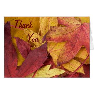 Cartão Obrigado que das folhas de outono você nota