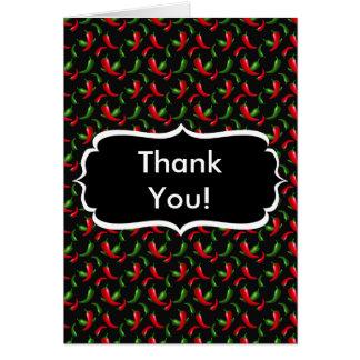Cartão Obrigado que das pimentas vermelhas e verdes você