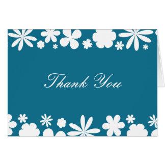 Cartão Obrigado que de flower power do azul e do branco