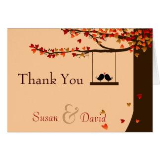 Cartão Obrigado que de queda do carvalho dos corações dos