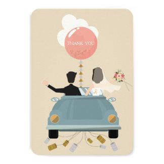 Cartão Obrigado que do casamento do carro do recem