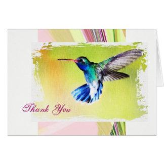 Cartão Obrigado que do colibri você nota