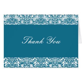 Cartão Obrigado que do damasco do azul e do branco de