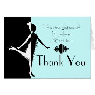 Cartão Obrigado que do Flapper do art deco você nota