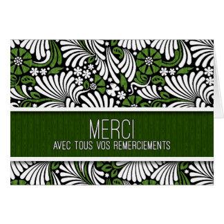 Cartão Obrigado que do francês de Merci você esverdeia e