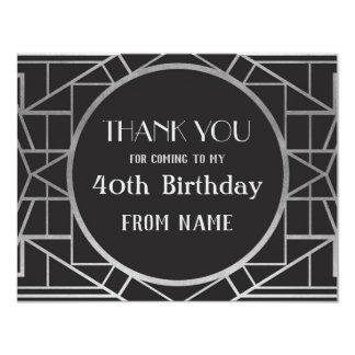 Cartão obrigado que do partido de Gatsby do art deco dos