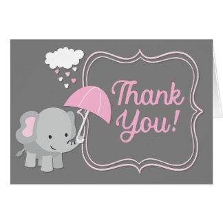 Cartão Obrigado que do rosa do chá de fraldas da menina
