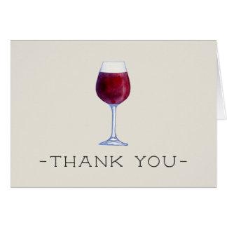 Cartão Obrigado que do vinho da aguarela você carda