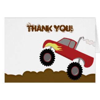 Cartão Obrigado que dobrado aniversário do monster truck