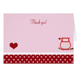 Cartão Obrigado que dobrado da coruja de dia dos