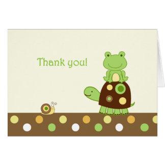 Cartão Obrigado que dobrado sapo de Laguna você nota
