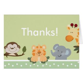 Cartão Obrigado que dobrado VERDE do SAFARI de SELVA você