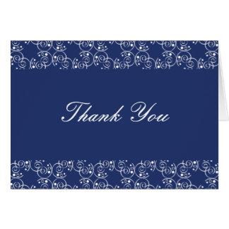 Cartão Obrigado que dos redemoinhos da espiral dos azuis