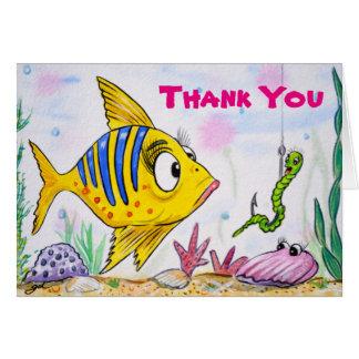 Cartão Obrigado que engraçado dos peixes você nota