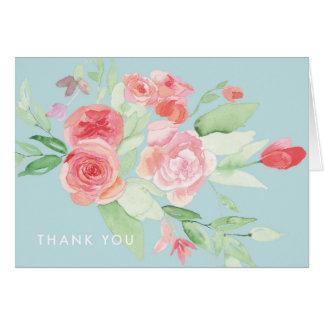 Cartão Obrigado que floral da aguarela azul moderna você