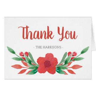 Cartão Obrigado que floral do nome de família do Natal