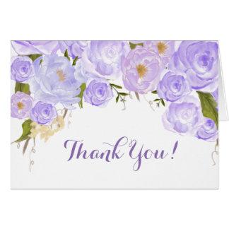 Cartão Obrigado que floral dos rosas da lavanda você nota