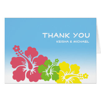 Cartão Obrigado que havaiano tropical da flor do hibiscus