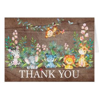Cartão Obrigado que moderno do chá de fraldas da selva do