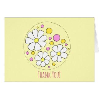 Cartão Obrigado que retro das flores da margarida você