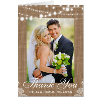 Cartão Obrigado que rústico do casamento do laço das