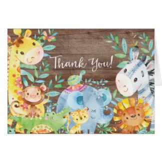 Cartão Obrigado que rústico do chá de fraldas da selva do