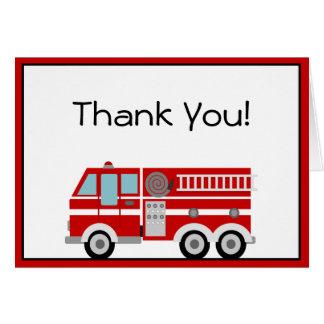 Cartão Obrigado que vermelho da viatura de incêndio e do