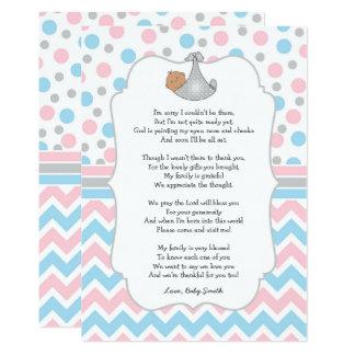 Cartão Obrigado que você nota, olhos azuis médios do chá