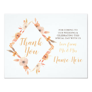 Cartão Obrigado queda castanha-aloirada da flor do outono