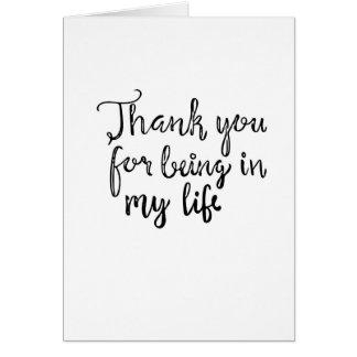 Cartão Obrigado realizando-se em minha vida