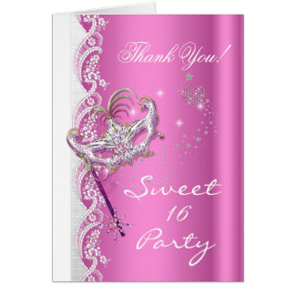 Cartão Obrigado rosa do partido do doce 16 da máscara do
