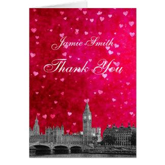 Cartão Obrigado rosa vermelha quente do coração da