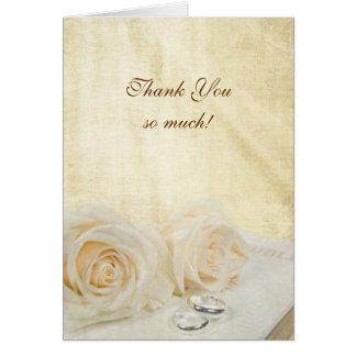 Cartão Obrigado rosas do casamento