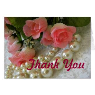 Cartão Obrigado rosas e pérolas douradas