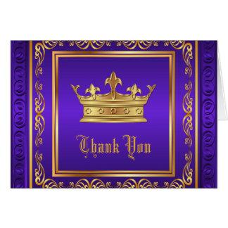 Cartão Obrigado roxo da coroa do ouro você