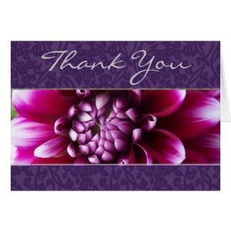 Cartão Obrigado roxo da dália de Fuschia você