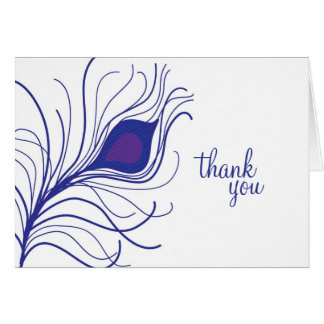 Cartão Obrigado roxo da pena do pavão