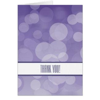 Cartão Obrigado roxo de Bokeh você