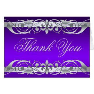 Cartão Obrigado roxo & de prata da grã-duquesa você