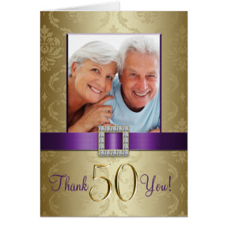 Cartão Obrigado roxo do aniversário de casamento do ouro