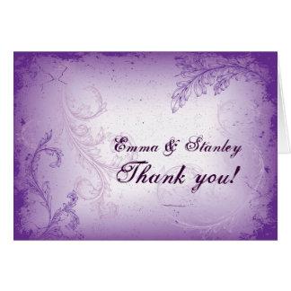 Cartão Obrigado roxo do casamento da folha do rolo do