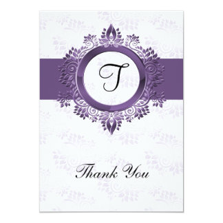 Cartão obrigado roxo do casamento do monograma do