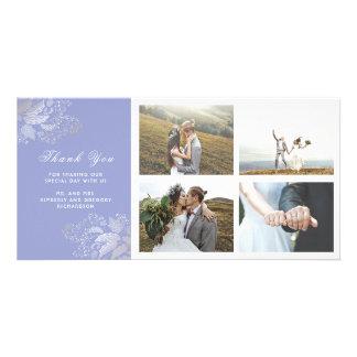 Cartão Obrigado roxo do casamento do ouro e da lavanda