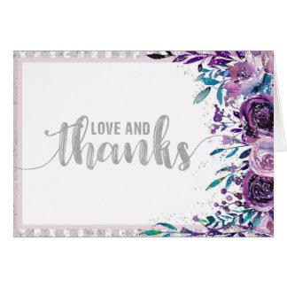 Cartão Obrigado roxo do casamento floral & de prata você