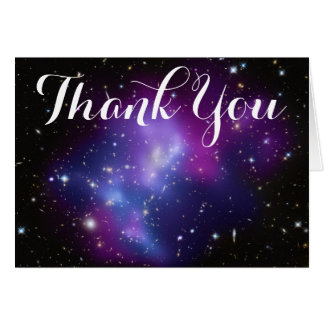 Cartão Obrigado roxo do conjunto da galáxia você