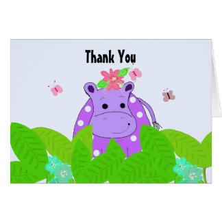 Cartão Obrigado roxo do hipopótamo das bolinhas você