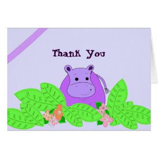 Cartão Obrigado roxo do hipopótamo você