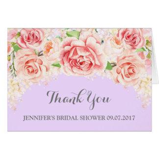 Cartão Obrigado roxo floral cor-de-rosa do chá de panela